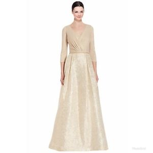TERI JON Rickie Freeman 3/4 Sleeve Jacquard Gown